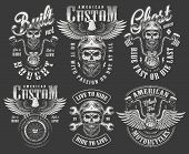 Vintage Monochrome Motorcycle Labels Set With Bearded And Mustached Biker Skull In Helmet Holding St poster