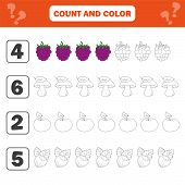 Mathematics Worksheet For Kids. Count And Color Educational Children Activity With Berry, Mushroom,  poster