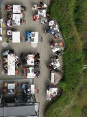 Top view to an open-air restaurant