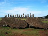 Ahu Tongariki with a fallen moai in front