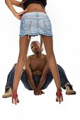 picture of spank  - African American peeping up skirt typical men girl slapping him - JPG