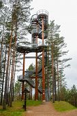 Staircase Of Lookout Tower, Construction With Metal Steps. Observation Tower, Post Or Point, Place F poster