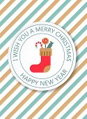Christmas, New Year Invitation. Vintage Card With Knitted Sock. Merry Christmas Typography And Eleme poster
