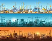 Horizontal Banner Of City Or Website Construction. Tractors, Grader, Bulldozers, Excavators And Towe poster