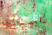 Rusty Painted Metal Texture, Old Iron Surface With Shabby Cracked Paint And Scratches, Abstract Grun poster
