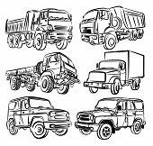 Sketches Of Trucks, Dump Trucks And Suvs. poster