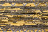 Yellow Barn Wooden Wall Planking Horizontal Texture. Old Retro Wood Slats Rustic Shabby Empty Backgr poster