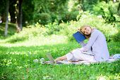 Time Management Skill. Girl With Business Diary Create Her Daily Schedule. Woman Relax Nature Backgr poster