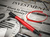 ETF is a best option to invest. Where to Invest concept, Investmets newspaper with loupe and marker. poster