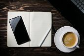 Blank Notepad With Phote, Notebook, Coffee, Flatlay poster
