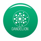 Faded Dandelion Logo Icon. Simple Illustration Of Faded Dandelion Vector Icon For Any Design Green poster