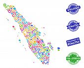 Welcome Collage Of Mosaic Map Of Sumatra Island And Scratched Stamps. Vector Greeting Watermarks Wit poster