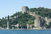 towers and crenellated walls of Rumeli's fortress on the Bosporus waterfront, Istanbul