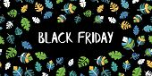 Black Friday Sale Text Vector With Hand Drawn Blue, Green, White, Yellow Leaves On Black Background. poster