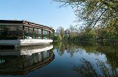 restaurant on the lake of Cismigiu park in Bucharest, Romania