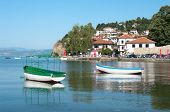 Ohrid village and row boat on the lake, Republic of Macedonia