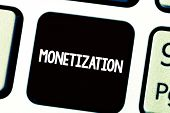 Text Sign Showing Monetization. Conceptual Photo Process Of Converting Establishing Something Into L poster