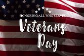 Composite Of Veterans Day Flag. Object. Close Up. Macro Photography poster