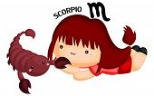A Scorpio Sign Portrayed Ny A Girl With A Scorpion poster
