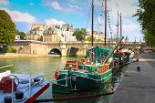 Paris. Retro Sail Boats And Yachts On Seine River On Bright Sunny Day In Paris, France. Paris Waterf poster