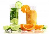 Fresh drinks, isolated on white background