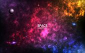 Colorful Nebula. Realistic Space Background. Color Cosmos Backdrop. Spiral Galaxy And Shining Stars. poster