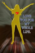 Love Heart Golden Girl English