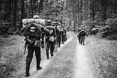 Re-enactors Dressed As German Infantry Soldiers In World War Ii Marching Walking Along Forest Road I poster
