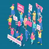 Crowd Of Protesting Women Feminists With Placards And Flags On Dark Blue Background Isometric Vector poster