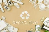 White Recycle Sign Symbol As Concept Of Refuse Reuse And Recycle Of Trash Garbage Used Light Cfl And poster