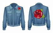 Jeans Jacket With Roses Patch. Blooming Red Flower On Denim Shirt With Long Sleeves. Women Fashionab poster