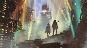 Couple In The Futuristic City At Night With Buildings And Light Beams, Digital Art Style, Illustrati poster