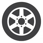 Car Wheel Icon On A White Background. Isolated Car Wheel Symbol With Flat Style. poster