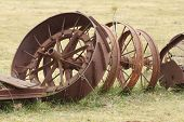 image of horse plowing  - Antique farming equipment left on abandoned fields  - JPG
