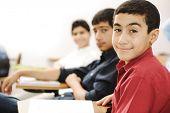 Happy boys kids in the school, classroom