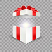 Opened White Gift Box Empty Angle Front View 3d With Red Bow And Lights Isolated In Transparent Back poster