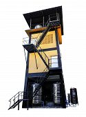 Isolate Water Tank Tower On White Background, Tank Store Water For Supply To Home, Orange Tower Cont poster