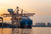 Container Cargo Ship In The Export And Import Business And Logistics International Goods In Urban Ci poster