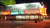 BROOKLYN - OCTOBER 25: Nathan's Famous Hotdogs is a historic landmark and tradition at Coney Island