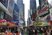 NEW YORK CITY - APRIL 18: The Famous Times Square offers landmark attractions, daily events, and jum