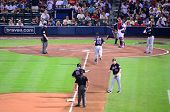 ATLANTA, GEORGIA - JUNE 16: Mets hit a homerun at Turner Field during a game between the Atlanta Bra