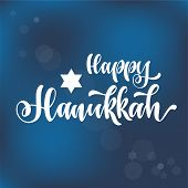 Happy Hanukkah Hand Drawn Lettering, Dreidels And Jewish Stars.  Elements For Invitations, Posters,  poster