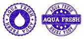 Grunge Aqua Fresh Stamp Seal Imprints. Aqua Fresh Text Inside Blue Retro Rubber Seals With Grunge Te poster