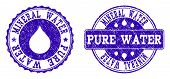 Grunge Mineral Water Pure Water Stamp Seal Watermarks. Mineral Water Pure Water Text Inside Blue Unc poster