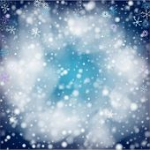 Blue Realistic Vector Snowfall. Holidays Background, Christmas, New Year Flyer. Realistic Snowfall T poster