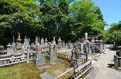 KYOTO, JAPAN - JULY 12: The historic cemetery at Eikan-do July 12, 2011 in Kyoto, Japan. Japanese tr