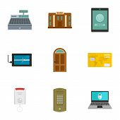 Secured Money Icon Set. Flat Set Of 9 Secured Money Icons For Web Design poster