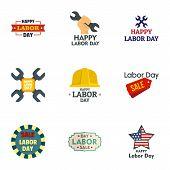Labor Day Sale Logo Set. Flat Set Of 9 Labor Day Sale Logo For Web Design poster