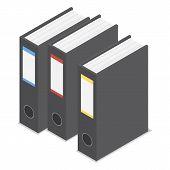 Black Office Folder Icon Set. Isometric Set Of Black Office Folder Icons For Web Design Isolated On  poster