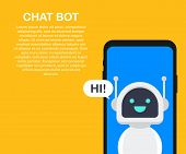 Chatbot Banner Concept. Horizontal Business Banner Template With Illustration Of Man Chatting With C poster